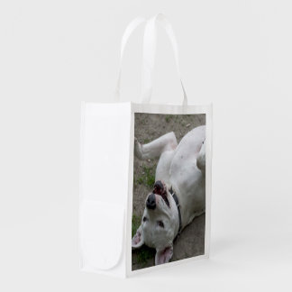 Playing Dogo Argentino Reusable Grocery Bag