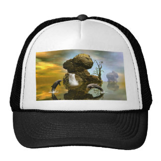 Playing dolphins trucker hat