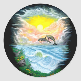 Playing Dolphins in the Sunshine Classic Round Sticker