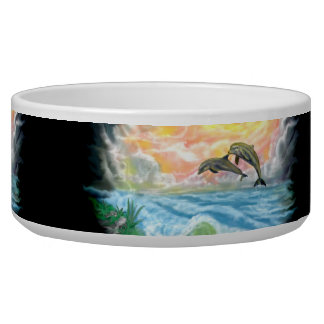 Playing Dolphins in the Sunshine Dog Food Bowl
