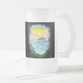 Playing Dolphins in the Sunshine Frosted Glass Beer Mug
