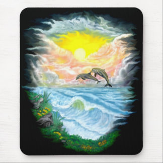 Playing Dolphins in the Sunshine Mouse Pad