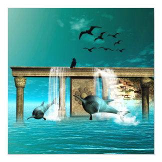 Playing dolphins magnetic card