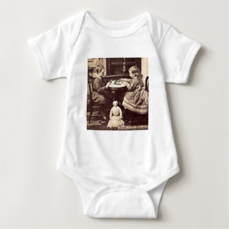 Playing Dominoes Vintage Stereoview Baby Bodysuit