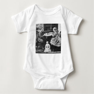 Playing Dominoes Vintage Stereoview (Grayscale) Baby Bodysuit