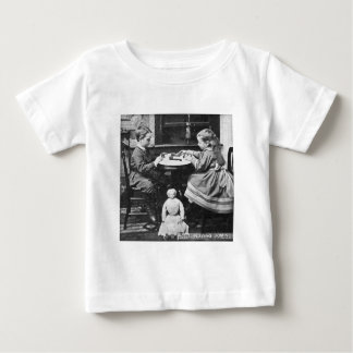 Playing Dominoes Vintage Stereoview (Grayscale) Baby T-Shirt