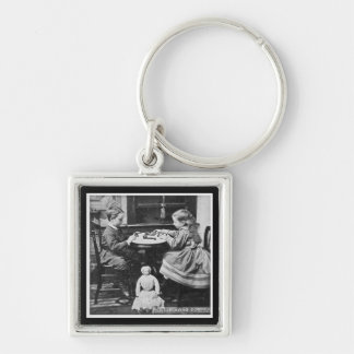 Playing Dominoes Vintage Stereoview (Grayscale) Keychain