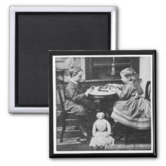 Playing Dominoes Vintage Stereoview (Grayscale) Magnet