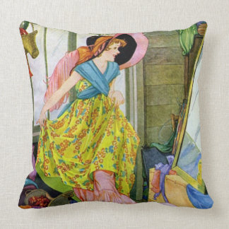 Playing Dressup in the Attic Throw Pillow