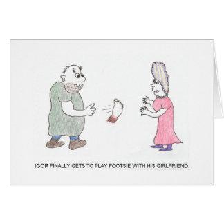 Playing Footsie Cartoon Birthday Card