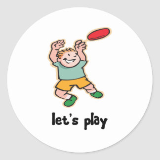 Playing Frisbee Classic Round Sticker