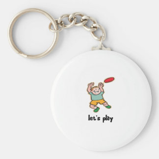 Playing Frisbee Keychain