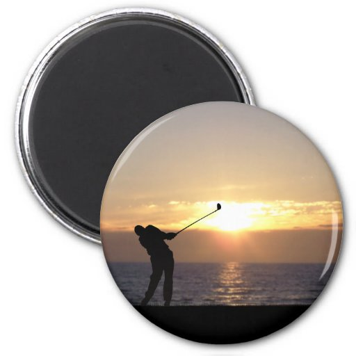 Playing Golf At Sunset 2 Inch Round Magnet