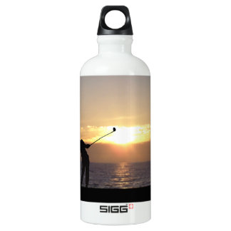Playing Golf At Sunset Aluminum Water Bottle