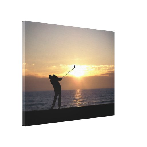 Playing Golf At Sunset Canvas Print