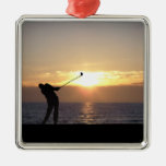 Playing Golf At Sunset Christmas Tree Ornament