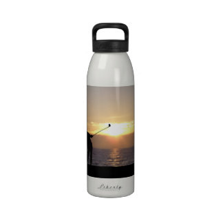 Playing Golf At Sunset Drinking Bottle