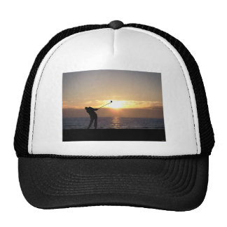 Playing Golf At Sunset Hat