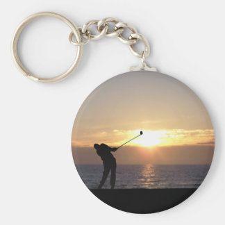 Playing Golf At Sunset Keychain