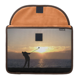 Playing Golf At Sunset MacBook Pro Sleeves