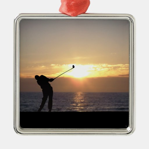 Playing Golf At Sunset Square Metal Christmas Ornament