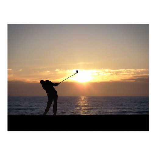 Playing Golf At Sunset Post Card
