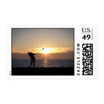 Playing Golf At Sunset Postage