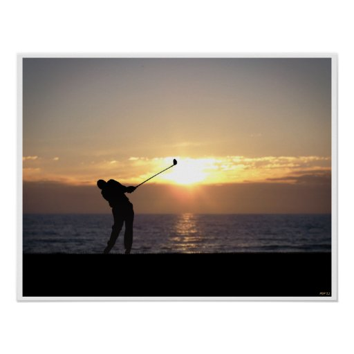 Playing Golf At Sunset Poster