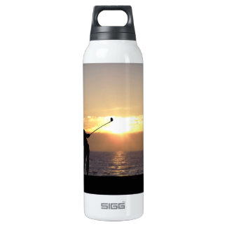 Playing Golf At Sunset 16 Oz Insulated SIGG Thermos Water Bottle