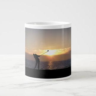 Playing Golf At Sunset 20 Oz Large Ceramic Coffee Mug