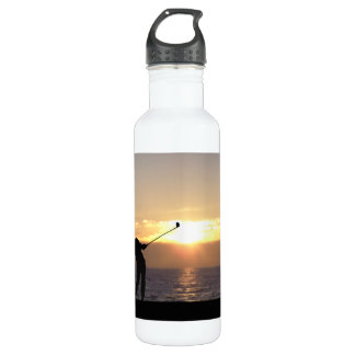 Playing Golf At Sunset Stainless Steel Water Bottle