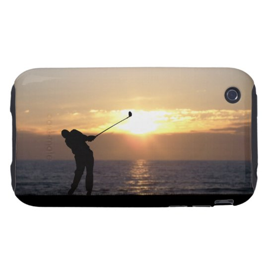 Playing Golf At Sunset Tough iPhone 3 Cover