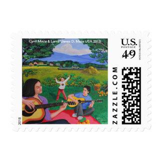 """Playing Guitar"" Postage/Stamp Postage"