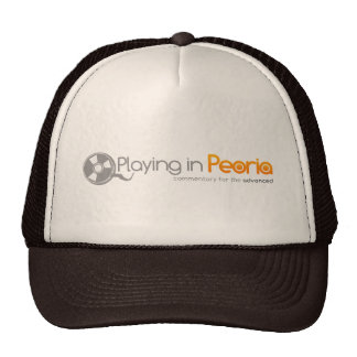 Playing in Peoria Logo Trucker Hats