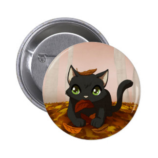 Playing in the leaves 2 inch round button