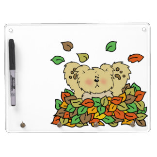 Playing in the Leaves Dry Erase Board With Keychain Holder