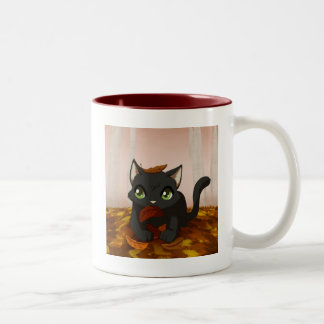 Playing in the leaves Two-Tone coffee mug