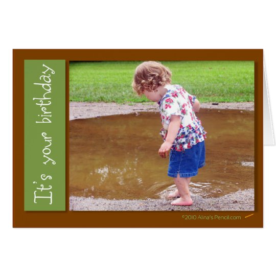 Playing in the Mud Puddle Birthday Card Template