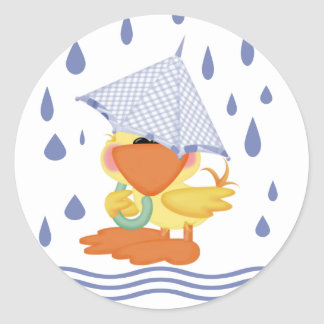 Playing In The Rain Classic Round Sticker