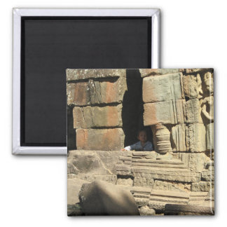 Playing in the Ruins ... Ta Prohm, Cambodia 2 Inch Square Magnet