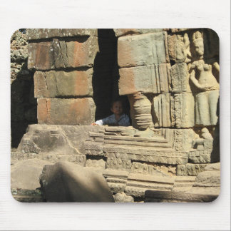 Playing in the Ruins ... Ta Prohm, Cambodia Mousepad