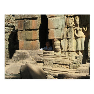Playing in the Ruins ... Ta Prohm, Cambodia Postcard