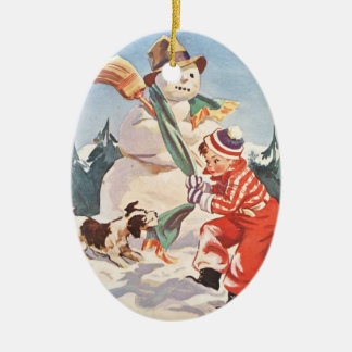Playing in the Snow Double-Sided Oval Ceramic Christmas Ornament