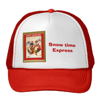 Playing in the snow trucker hat