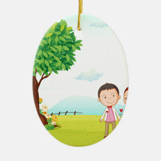 playing kids ceramic ornament