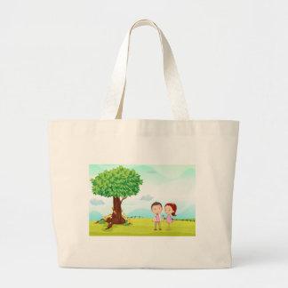 playing kids large tote bag