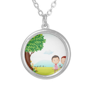 playing kids round pendant necklace