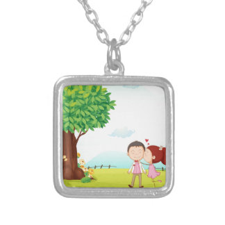 playing kids square pendant necklace