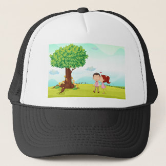 playing kids trucker hat