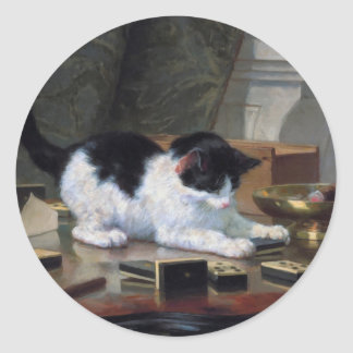 Playing Kitten by Henriëtte Ronner-Knip Classic Round Sticker